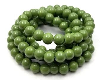 50 Moss Green Glass Beads 8mm (H2565)