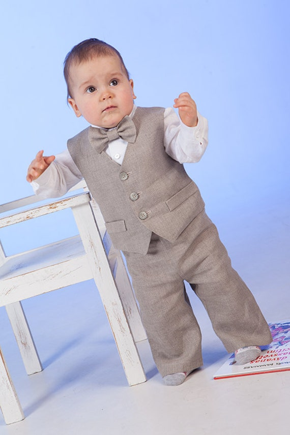 Ring bearer outfit Baby boy linen suit 1st birthday natural