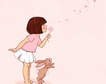 Dandelion Belle, blowing a dandelion, making a wish print,