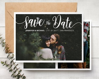 Save The Date Template - Engagement Announcement Card Photoshop Template SAVE THE DATE 001