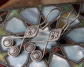 Afghan Vintage Kazakh Stile Tribal Earrings