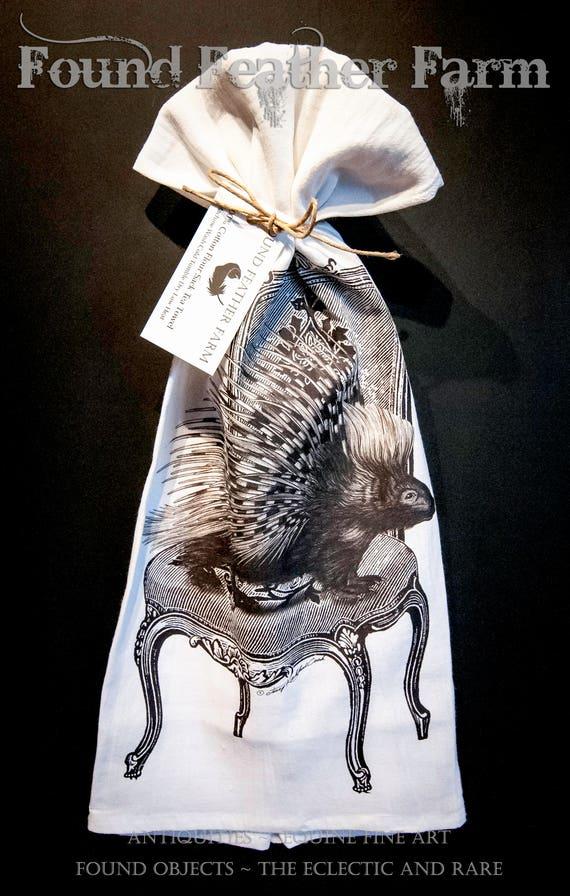 "Printed Cotton Flour Sack Tea Towel with Original  ""The Comfy Chair"" Design"