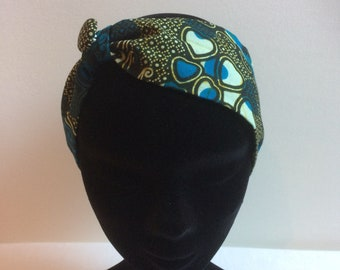 Hair band in green and blue African fabric/hair accessory/headwrap/adult