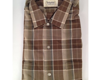 Vintage late 50s early 60s Deadstock Sanforized Brown Plaid Shirt by Wedgefield Size Medium