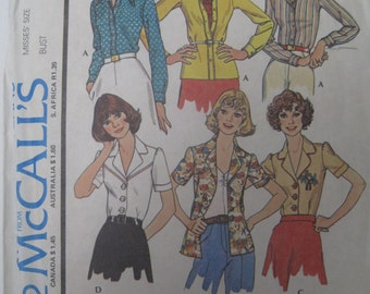McCalls 4502 vintage 70s womens shirts/blouses size 12 bust 34 with 2 sleeve and 2 collar variations