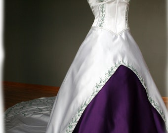White and Purple Wedding Dress with Green Embroidery , Custom Made in your size - Lee Style