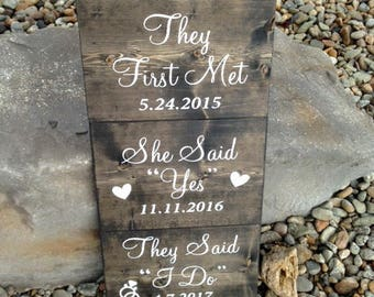 Custom name and dates, Wedding Sign: THEY FIRST MET