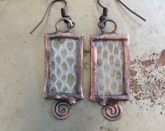 Snake Skin Earrings Copper Spiral Jewelry