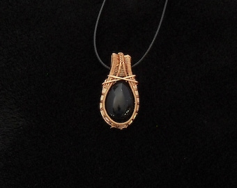 Boho, wire wrap, copper, tear drop necklace, pendant -- GREAT bride's maid gift