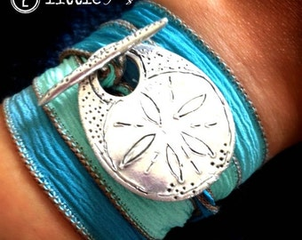 Beach Jewelry  Sand Dollar Silk Wrap Toggle Bracelet  Vacation or Cruise