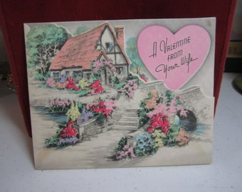 Pretty unused hand colored die cut art deco 1930's Rust Craft valentine card from wife country thatched roof cottage garden path pink heart