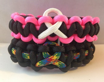 Custom Awareness Ribbon Paracord Bracelet
