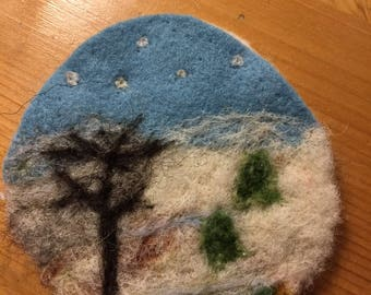 Wintry wool felted brooch with trees