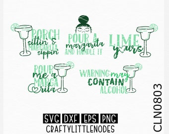 CLN0803 Margarita Design Bundle Limes Alcohol Shirt SVG DXF Ai Eps PNG Vector Instant Download Commercial Cut File Cricut Silhouette