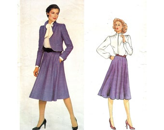 Vogue American Designer 2372 Short Jacket, Flared Skirt, Blouse Pattern Skirt Suit, Don Sayres Women Size 12 Vintage Sewing Pattern UNCUT