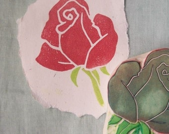 Rose Rubber Stamp Hand Carved