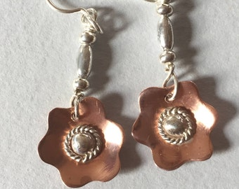 Copper-silver flower dangles