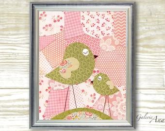 Birds Patchwork Pink and green -  baby nursery decor - Girl bedroom - kids art - nursery print - baby art  print