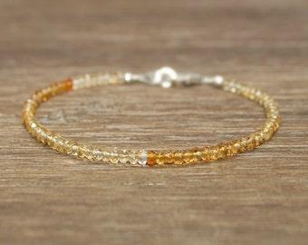 Shaded Citrine Bracelet, Citrine Jewelry, November Birthstone, Layering Bracelet, Gemstone Jewelry