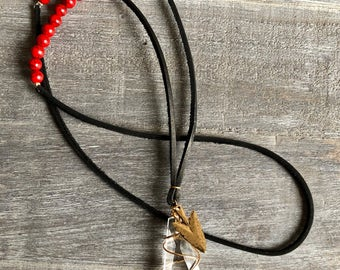 Red and Black Warrior Necklace