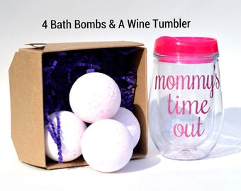 Bath bomb gift set, Mothers Day gift, Gift box for women, 4 large bath bombs and a wine tumbler, great relaxation gift