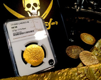 Mexico 8 Escudos 1715 from the 1715 Plate Fleet Shipwreck NGC 58 Pirate Gold Treasure Doubloon Coins