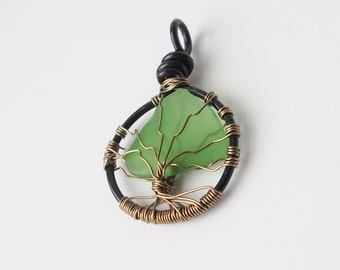 Tree of life necklace, beach glass jewelry, finger lakes, bohemian style necklace, gifts for nature lovers, tree pendant, birthday gift idea
