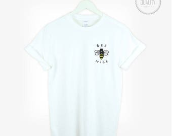 BEE NICE pocket t-shirt print graphic shirt tee unisex men women cute love tumblr love friends pinterest instagram100% cotton *brand new
