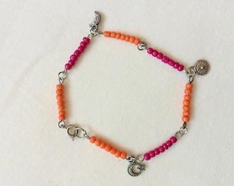 Minimalist Pink & Gold Charm Bracelet