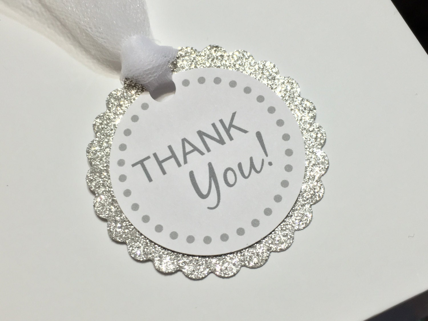 Thank you tags, party favor tags, silver favor tags, silver thank ...