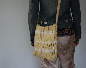 90s Crochet Crossbody Bag in Pale Yellow with Fringe