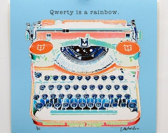 "17 x 17"" limited edition print - Qwerty is a rainbow - unframed"