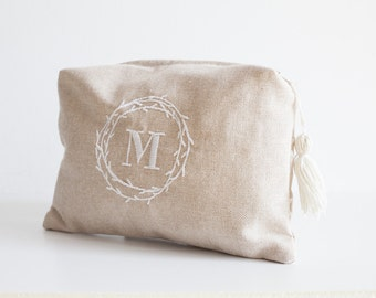 Handbag bag with initial external and secret message embroidered inside, gift for her-the Ricamificio