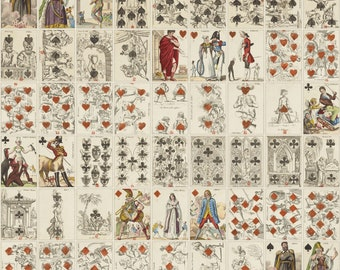 1815 Poker Playing Cards set of 52, Ancient European Hand Drawing Art, Scrapbooking Cards, INSTANT DOWNLOAD