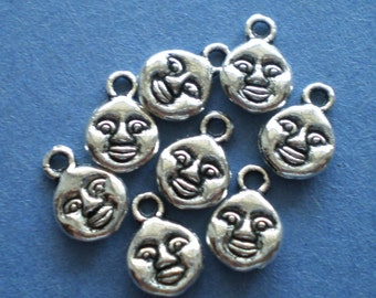 10 charms Man in Moon Jewelry silver metal charm drops 8x11mm