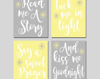YELLOW GRAY Nursery Wall Art,CANVAS or Print,Nursery Quote Decor,Read Me A Story,Kiss Me Goodnight,Rhyme Quote,Baby Crib Decor,Set of 4