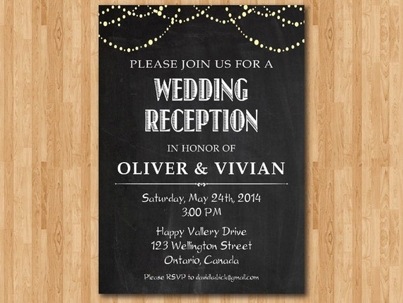 Invitation Wording For Wedding Reception: Wedding Reception Invitation. Reception Invite. Chalkboard