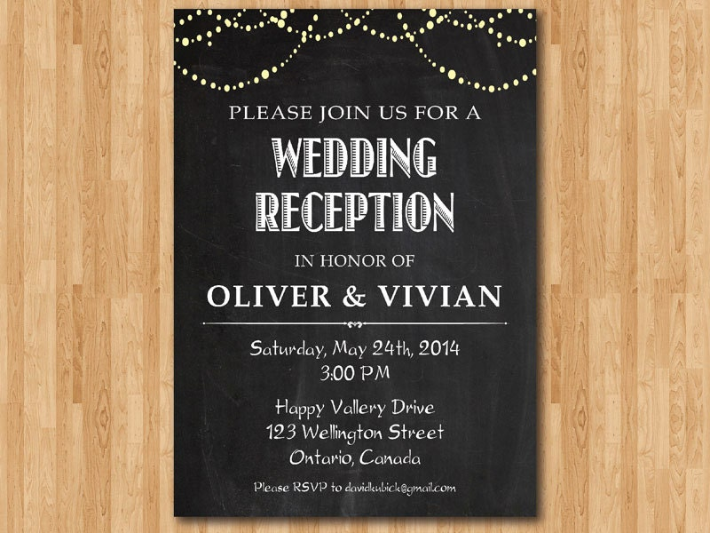 Wedding Reception Invite Wording: Wedding Reception Invitation. Reception Invite. Chalkboard