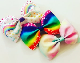 Rainbow pinch tux bows