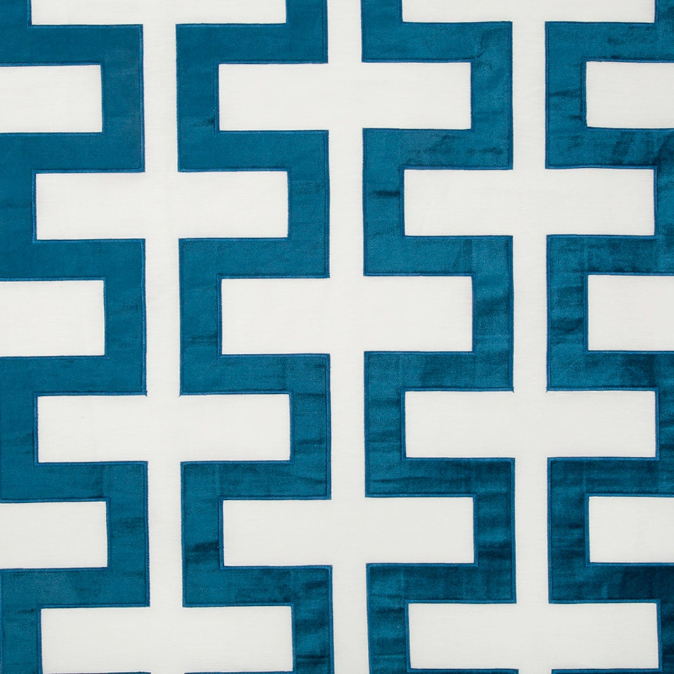 Peacock blue geometric velvet upholstery fabric modern blue for Modern curtain fabric texture