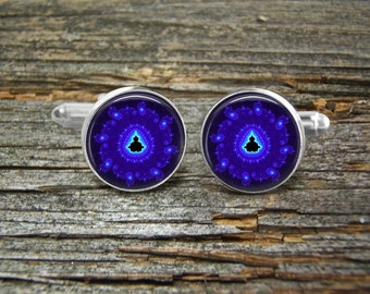 Cufflinks Blue Violet Aqua Circle-Wedding-Jewelry Box-Man gift-Groom Gift-Bride Gift To Groom-Science-Math-Computer-Nerd-Geek-Techie