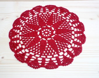 Vintage Red Doily Hand crocheted Doily Red Cotton Doily Red Round Doily Vintage Linens Vintage Handmade 80's Doily Home Decor