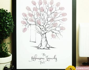 personalised family fingerprint tree, family tree fingerprint, fingerprint tree, family tree, customised family tree print, thumbprint tree