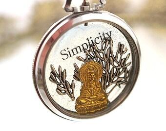 Simplicity Buddha Pocket Watch Necklace Lotus Cast Resin  Pendant