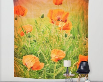 Poppy Tapestry, Poppies Wall Tapestry, Poppy Wall Hanging, Orange Flower Home decor, Oriental Poppy Large Wall Art, Oversize Nature Tapestry