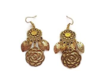 Gold Rose Earrings - Gold Flower Earrings - Gold Dangle Earrings - Flower Dangle Earrings - Rose Dangle Earrings - Vintage Gold Earrings