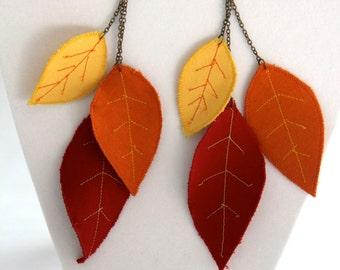 Autumn leaf earrings, artisan jewelry, fiber art earrings, fall jewelry, nature inspired jewelry, leaf dangle earrings, statement earrings