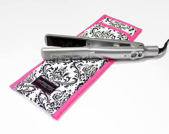Black and White Damask print Flat Iron Case/Curling Iron Travel Cover with Hot Pink Trim - In Stock Ready To Ship