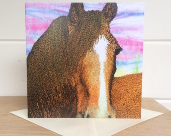 Horse greetings card ~ horse gifts ~ equestrian gifts - animal gifts ~ horse gifts ~ horse print ~ horse art ~ horse racing gifts