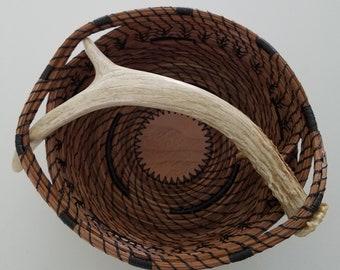 Deer Antler handled Pine Needle Basket - Handmade Natural Shed Pine Straw Man Cave Keys wallet phone - Go Green - Gift Florida USA - 125.00